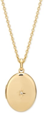 """Sarah Chloe Diamond Accent Locket Pendant Necklace in 14k Gold-Plate Over Sterling Silver, 16"""" + 2"""" extender"""