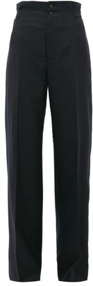 Connolly - High-rise Wool-blend Wide-leg Trousers - Navy