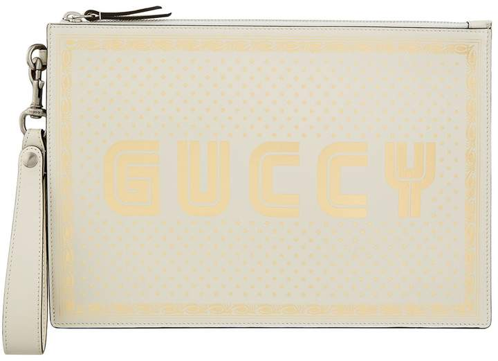 Gucci Leather Logo Printed Pouch