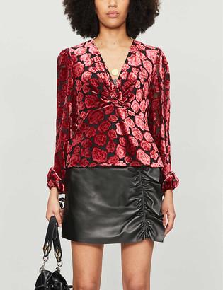 The Kooples Floral-pattern V-neck velvet blouse