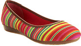 Liz Claiborne New York Striped Canvas Flats w/ Faux Leather Trim