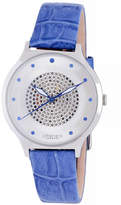 Johan Eric Orstead Quartz Swarovski Crystal Blue Leather Strap Watch