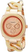 Akribos XXIV Women's AK641RG Ultimate Multi-Function Rose-Tone and Beige Pillow-Cut Twist Chain Bracelet Watch