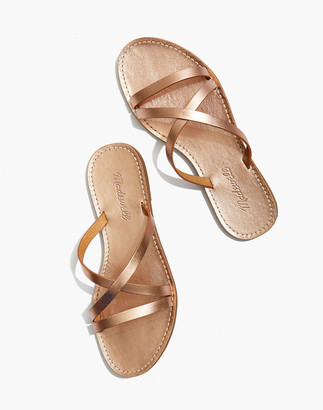 Madewell The Boardwalk Skinny-Strap Slide Sandal in Metallic