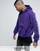 Reclaimed Vintage Inspired Oversized Hoodie In Purple With Sleeve Print