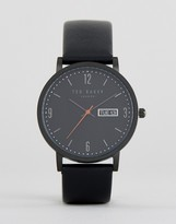 Ted Baker Grant Leather Watch In Black