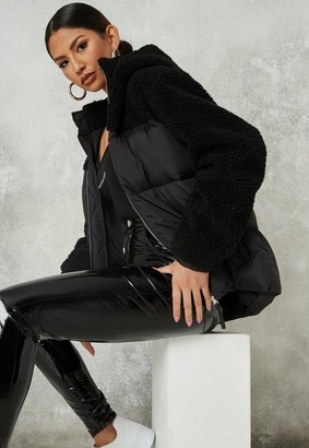 Missguided Black Borg Mix Hooded Puffer Coat