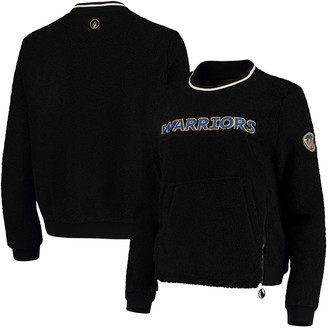Women's Black Golden State Warriors Sherpa Pullover Jacket with Zipper Detail