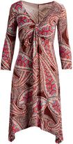 Glam Burgundy Teal Paisley Sidetail-Hem Empire Waist Dress - Plus Too