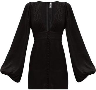 Isabella Collection Rat & Boa Leopard-jacquard Satin Mini Dress - Womens - Black
