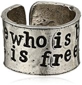 "Alisa Michelle Back To Basics"" Stamped Adjustable Ring, Size 7-9"