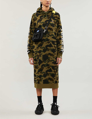 Bape Camouflage-print cotton-jersey hoody dress