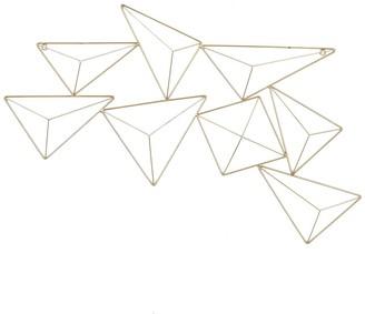 "Willow Row Abstract Geometric Triangular Gold Metal Wall Decor - 32"" X 17"""