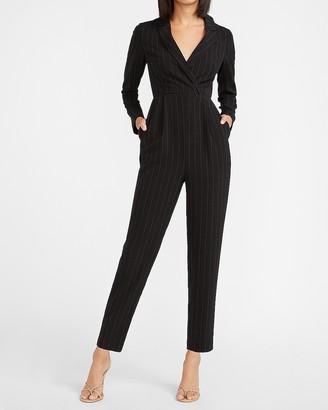 Express Pinstripe Long Sleeve Blazer Jumpsuit