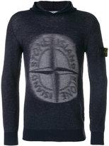 Stone Island logo knitted hoodie