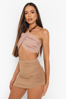 boohoo Ruched Side Split Front Jersey Mini Skirt