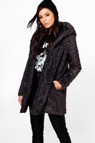Boohoo Boutique Maya Hooded Textured Faux Fur Coat