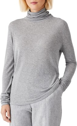 Eileen Fisher Slim Scrunch Neck Top