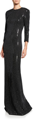 St. John Paillette Pinstripe 3/4-Sleeve Column Gown with Back Slit