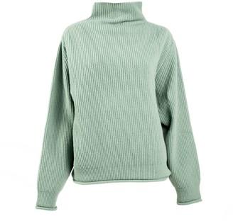 Woolish Kamakura High Neck Merino Sweater Granite Green