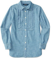 Ralph Lauren Pleated Cotton Chambray Tunic