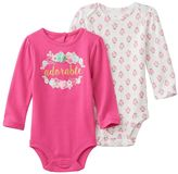 """Baby Starters Baby Girl 2-pk. """"Adorable"""" & Floral Bodysuits"""