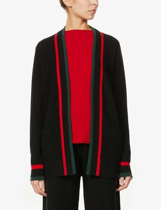 Madeleine Thompson Big striped-trim cashmere cardigan