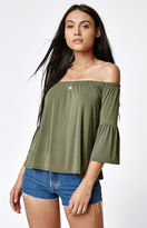 La Hearts Off-The-Shoulder Bell Sleeve Top
