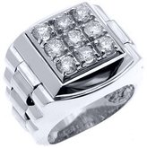 TeJewelryMaster Mens Rolex Ring Wite Gold Square Diamond Ring 1.75 Carats