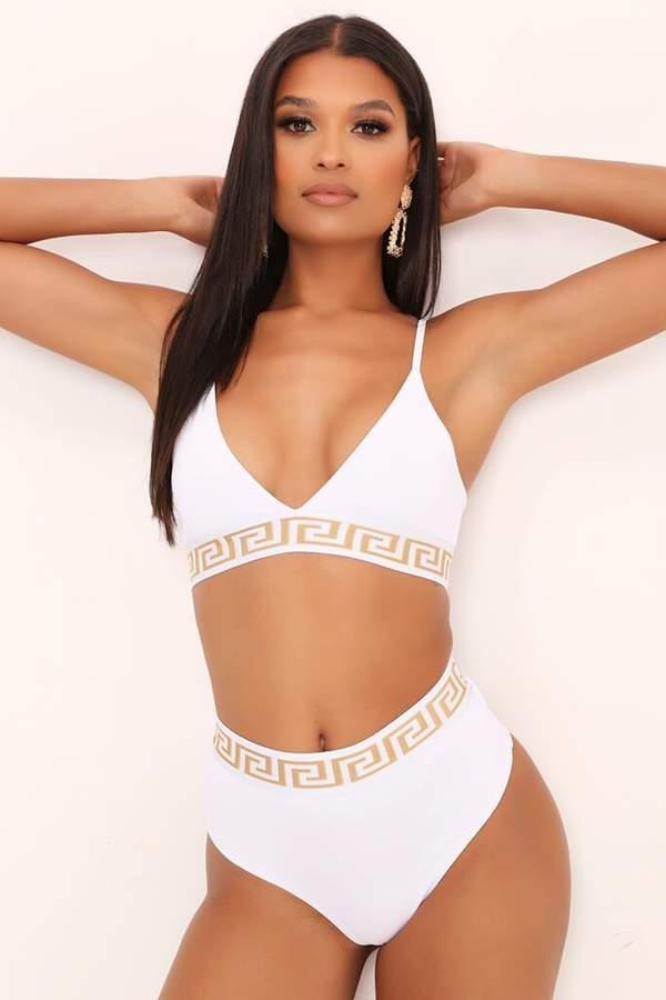 6016784638710 White Bikini With Gold Trim - ShopStyle UK