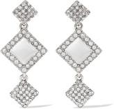 Oscar de la Renta Silver-tone crystal and resin earrings