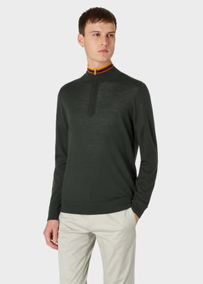 Paul Smith Men's Khaki Funnel Neck Merino Wool Half-Zip Sweater With 'Artist Stripe' Collar