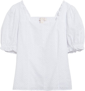 Rachel Parcell Puff Sleeve Eyelet Top