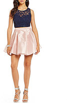 B. Darlin Sequin Lace to Satin Two-Piece Dress