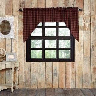 VHC Brands Red Rustic Kitchen Curtains VHC Cumberland Swag Pair Rod Pocket Cotton Buffalo Check - Swag 36x36x16 - Swag 36x36x16