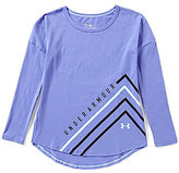 Under Armour Big Girls 7-16 Dazzle Long-Sleeve High-Low Top