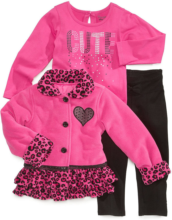Nannette Kids Set, Little Girls 3-Piece Jacket, Shirt and Pants