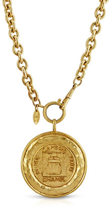 Chanel Vintage 31 Rue Cambon Graphic Hammered Medallion on Long Link Chain
