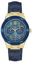 GUESS W0289L3 39mm Stainless Steel Case Blue Calfskin Mineral Women's Watch