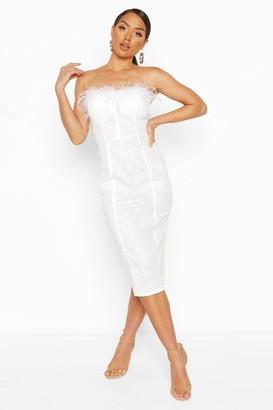 boohoo Lace Bandeau Feather Trim Midi Dress