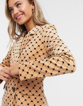 Monki Nova co-ord heart chain print blazer in beige