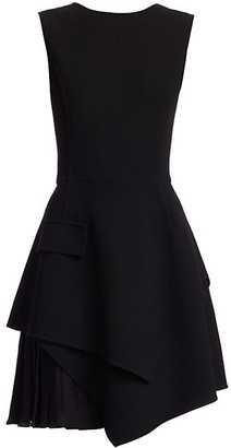 Oscar de la Renta Sleeveless Asymmetric Mini A-Line Dress