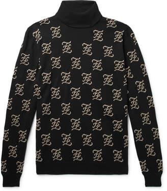 Fendi Logo-Jacquard Wool Rollneck Sweater