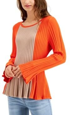 Fever Colorblocked Peplum Sweater