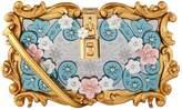 Dolce & Gabbana Floral Padlock Clutch Bag, White