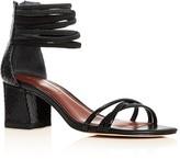 Donald J Pliner Essie Snakeskin Block Heel Sandals