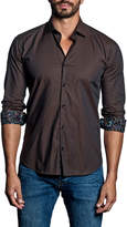 Jared Lang Solid-Color Sport Shirt w/ Contrast Cuffs, Brown