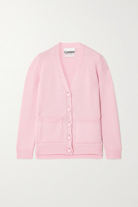 Ganni Merino Wool Cardigan - Baby pink