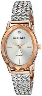 Anne Klein Women's Genuine Diamond Dial Rose Gold-Tone and Silver-Tone Mesh Bracelet Watch