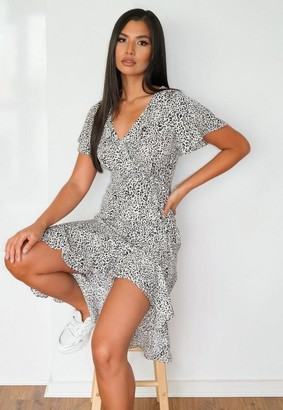 Missguided Petite White Dalmatian Print Wrap Midi Dress